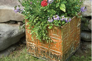 tin ceiling tile planter box