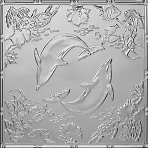DELIGHTFUL DOLPHINS - TIN CEILING TILE - 2486