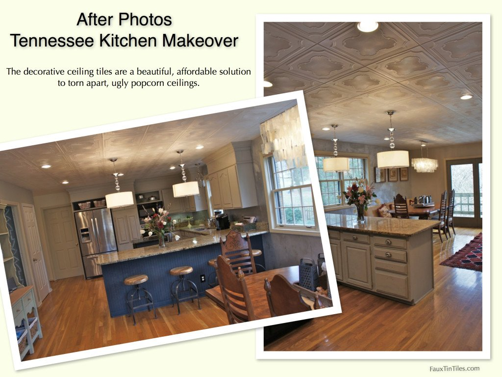 After Photos - Tennessee Kitchen Makeover Decorative Ceiling Tiles Over Popcorn Ceiling, ceiling remodel before and after photos
