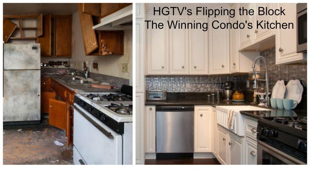 Flipping The Block Winning Condo Kitchen with tin backsplash, ceiling remodel before and after photos