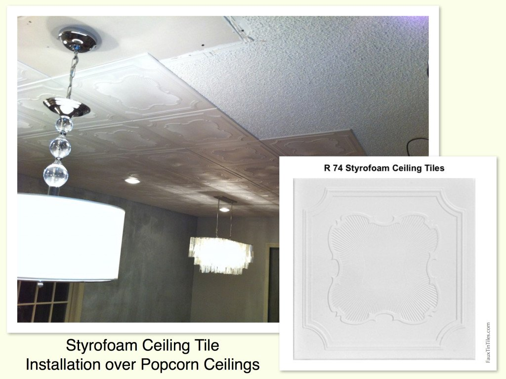 charming Ceiling Tiles Over Popcorn Ceiling Part - 17: Decorative Ceiling Tiles u2013 Before and After Photos