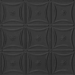 Delicate Daisies Aluminum Backsplash Tile 0607 Satin Black