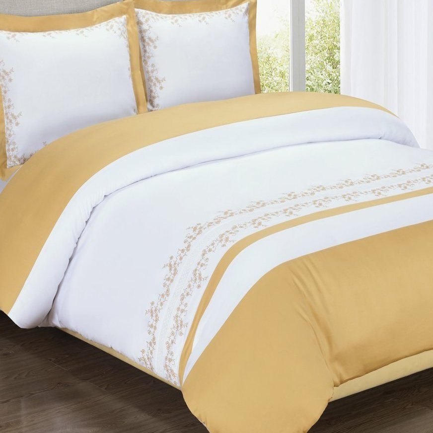 Gold and White Amalia Embriodered Duvet