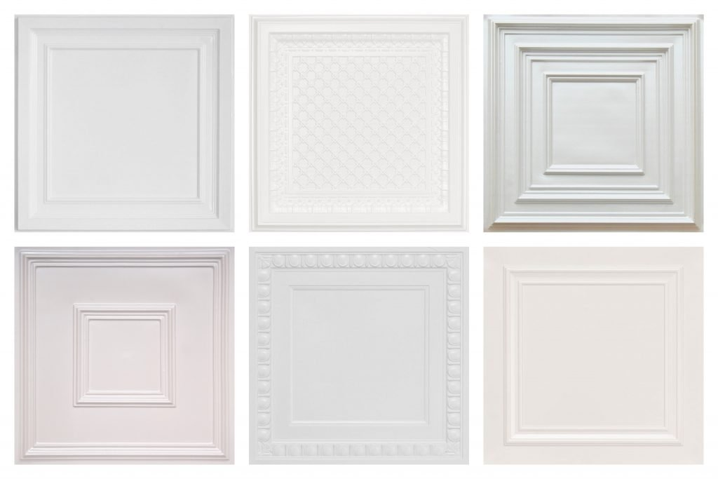 White Faux Tin Decorative Ceiling Tiles