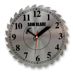 9.5 Inch Real Saw Blade Shop Wall Clock - Requires One AA Battery - Quartz Movement Clocks by bogo Brands