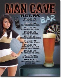 Desperate Enterprises Man Cave Rules Tin Sign, 12 by 16-Inch