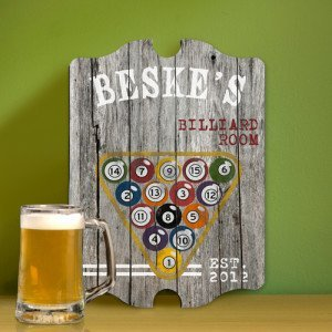 Personalized Billiards Man Cave Vintage Bar and Pub Sign