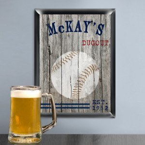 Personalized Traditional Baseball Man Cave Bar and Pub Sign