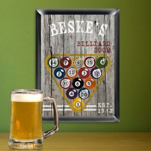 Personalized Traditional Billiards Man Cave Bar and Pub Sign