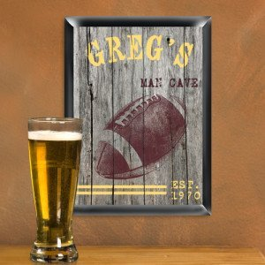 Personalized Traditional Football Man Cave Bar and Pub Sign