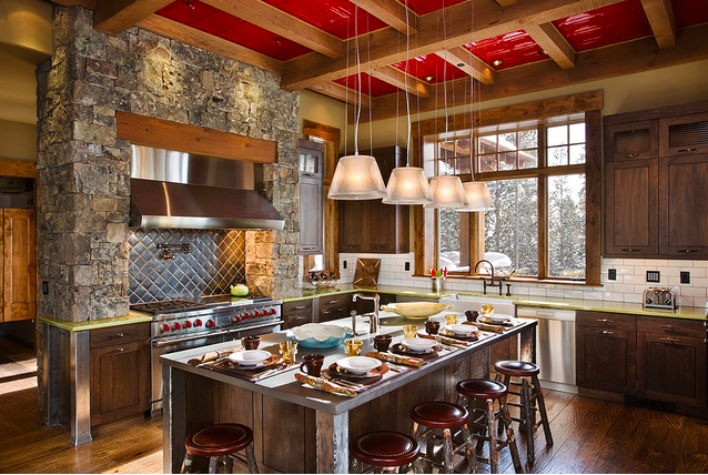 Kitchen with Red Ceilings, Ceiling Tile Ideas