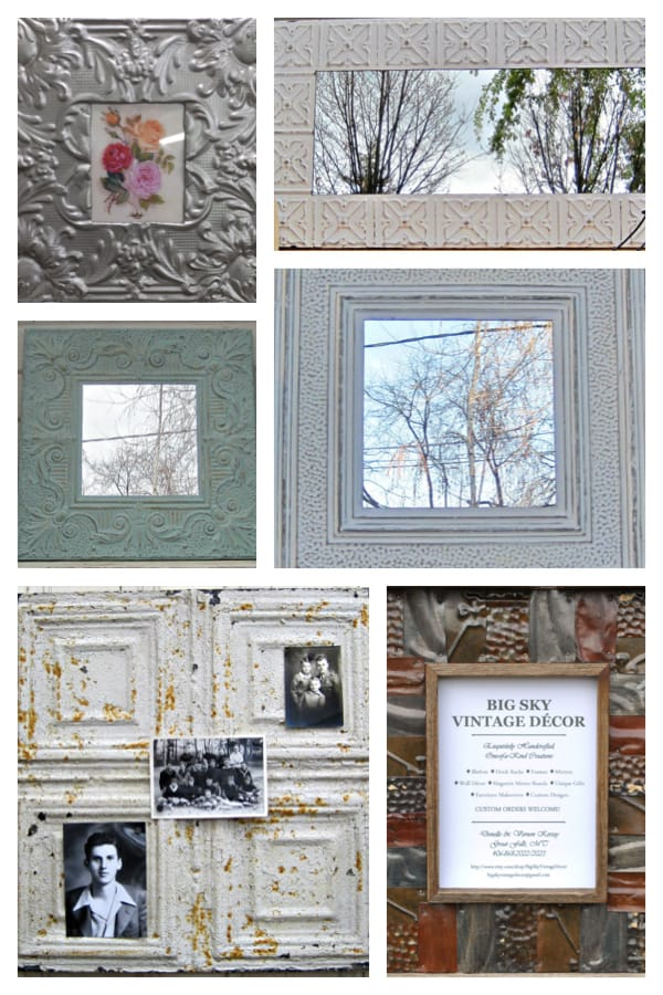 Tin Ceiling Tile Mirror and Picture Frames