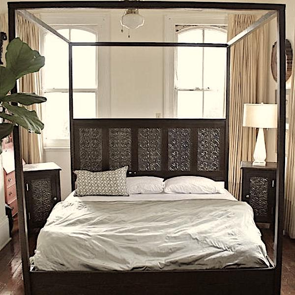 Canopy-Bed-Made-from-Reclaimed-Wood-and-Victorian-Tin-Ceiling-Tiles